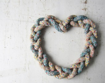 ON SALE Vintage Heart Wreath - Braided Fabric - Shabby Chic