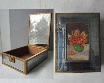 ON SALE Vintage Keepsake Box with Mirror - Chromium Plate - Wood Interior