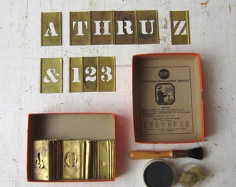 "1 Inch Brass Stencil Set - Complete 1"" Set : Alphabet / Numbers / Symbols / Ink and Brush - Sears Adjustable Interlocking Stencils No. 37851"