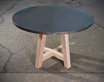 """46"""" round metal top table with maple legs"""