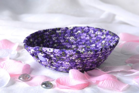 Purple Gift Basket, Cute Fabric Basket, Handmade Purple Lavender Bowl, Party Gift Favor, Lovely Soft Fabric Pottery Bowl