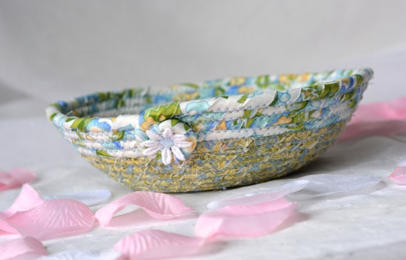 Shabby Chic Bowl, Key Holder Tray, Lovely Blue Bowl, Dresser Tray Catchall, Decorative Basket, Soft Fiber Pottery, Fabric Pottery