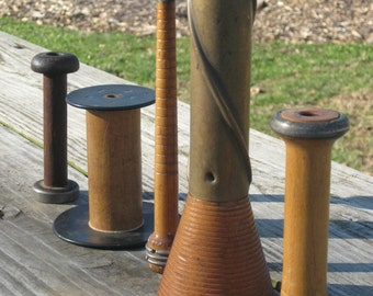 Collection of Five Vintage Wooden Bobbins