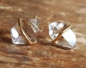 Herkimer Diamond Stud Earrings Raw Crystal Earrings Womens Gift April Birthstone Jewelry 14K Gold Studs Stud Earring Womens Girlfriend Wife
