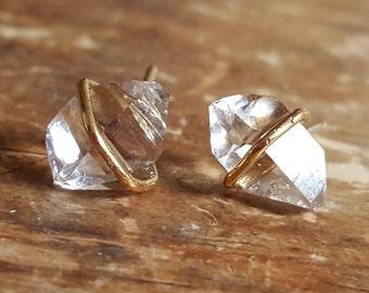 Herkimer Diamond Stud Earrings Raw Crystal Earrings Womens Gift April Birthstone Jewelry 14K Gold Studs Stud Earring Womens Girlfriend Wife