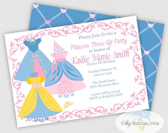Dress Up Party Invitation | Princess Dress Up | Fashion Show | Pastel Colors | Instant Download | Editable Text You Edit  In Adobe Reader