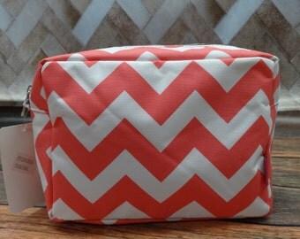 Personalized Large Cosmetic Bag  TOILETRY BAG Makeup Bag   Coral Chevron