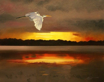 White Egret 11 x 17 print (image 10.5 x 12.75) personally signed by artist RUSTY RUST / E-104-P