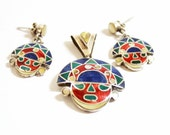 Tumi Pendant Set- Inca Sun God Set- Peru Silver- Pendant Earring- 950 Silver-Inlaid Silver- Gemstone Set- Signed Set- 1970 Jewelry- Handmade