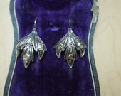 SALE Antique Georgian/Victorian Sterling Silver, Rose Cut Diamond, Gold Wash Earrings