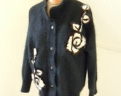 1980s Vintage Black Angora and Mink Rose Jacket w/ Rhinestone Buttons, M