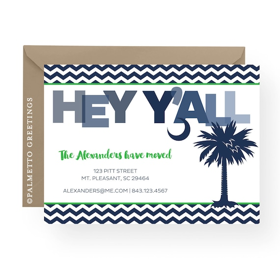 Hey Y'all We Moved, South Carolina New Address - Palmetto Tree with Crescent Moon, Any Color, New Home Moving Announcement, Charleston, SC
