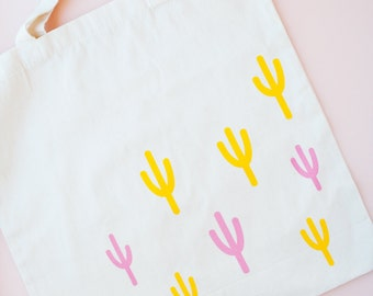 Cactus Tote Bag | Grocery Bag | Southwest Saguaro Cacti | Cotton Canvas | Silkscreened