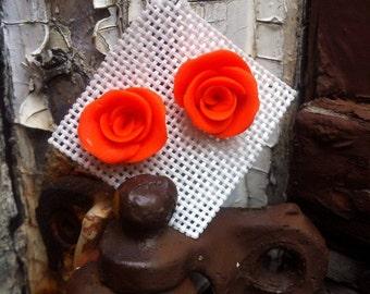 Orange Rose Stud Earrings, Handmade, Bright Orange Rose