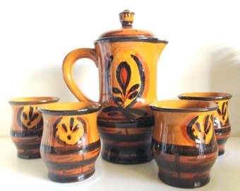 Vintage Bulgarian Pottery Coffee Pot & Cup Set