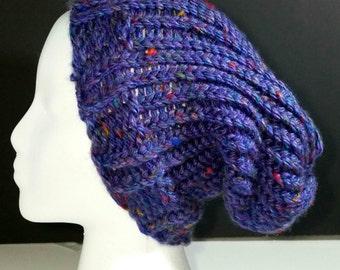 Blue Tweed Slouchy Beanie, Loom Knit Beanie