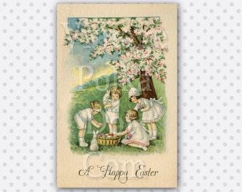 Easter Clip Art Vintage Spring Graphics Clipart Printable Digital Instant Download Scrapbooking Bunny Easter Eggs Springtime