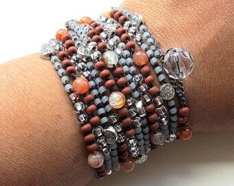 """Crochet wrap bracelet / necklace, beaded, """"dark flower"""", silver, brown, bohemian jewelry, crochet jewelry, fall, boho wedding, ooak"""