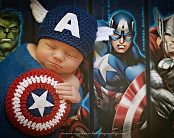 Newborn Photo Prop Captain America Superhero Hat