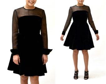Vintage Black Velvet Dress Size Small with Crinoline Skirt // 90s Black Illusion Dress// Black Holiday Party Dress Size XS Small