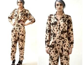 Vintage Diane Von Furstenberg Animal Print Jumpsuit Size medium Large//  Leopard Cheetah Animal Print Jumpsuit Large By DVF