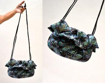 Vintage Metallic Black Leather Bag Purse Handbag// Hologram Bag with Rhinestones In metallic Leather crossbody By Rita Diana Mylinka