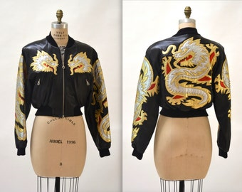 Vintage Black Leather Motorcycle Jacket by North Beach Michael Hoban// Vintage Black Metallic Leather Bomber Jacket with Asian Dragon Small