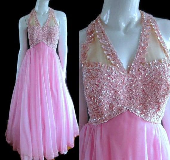 ViNtAgE 60s Pink Sequin Maxi Dress Cocktail Chiffon Gown Evening Holiday Hostess Mad Men Mike Benet  Formal Ball Gown Princess Elegant