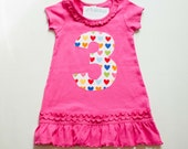 Girls 3rd Birthday Dress, Applique Number Tunic, Pink with Rainbow Hearts, Ready to Ship, Size 3, Number 3 Top, Dark Pink Short Sleeve 2T 3T