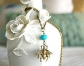 Antique Bronze Bee Charm Necklace, Bee Pendant, Bronze Necklace, Custom Necklace Chain Length, Accent Bead