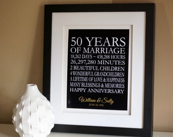 50th Anniversary Gift for Parents, 50th Anniversary Gift, 50th Wedding Anniversary, Golden Anniversary, 50 Years of Marriage, 50 Years Ago