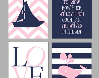 """If You Want to Know Nautical Nursery Wall Art Whale Nursery Baby Girl Navy and Pink Nursery Set of four prints You Choose Colors -  8""""x10"""""""