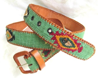 Vintage Guatemalan Belt sz 40 Woven Sage Green Textile and Genuine Leather SO CHIC