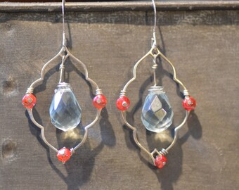 sterling earrings with central crystal drop