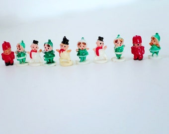 Vintage Mini micro Snowmen, Elves, Watchmen, Plastic Kitsch Holiday Putz House Supply, Kawaii Mini Diorama Holiday Village Assemblage