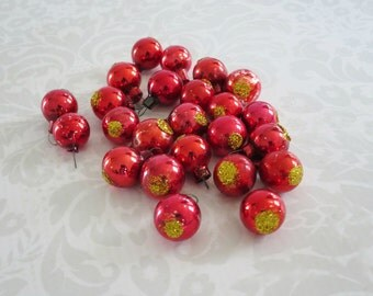 Vintage Mini Red Glass Ornaments, Mini Feather Tree Ornaments Red & Gold,  Micro Miniature Half Inch Red Glass Tree Trim