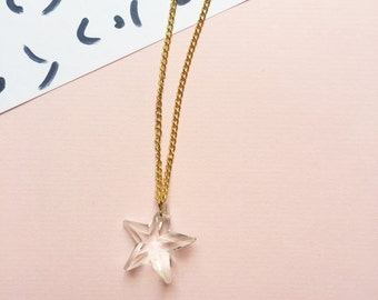 glasstar -long pendant (clear glass bead on a gold plated chain long everyday pendant minimal translucent prism)