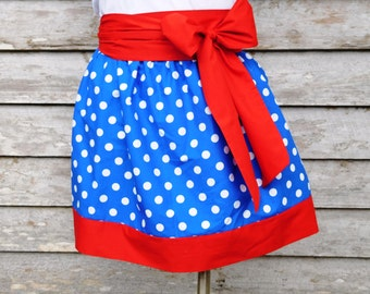 Cute bright blue w/ white polka dots  summer Gameday Sorority Gathered Skirt *You Choose Team Colors*