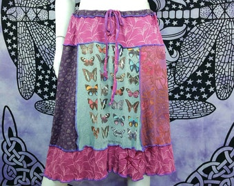 Patchwork tee skirt upcycled by Niknok