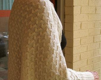 Knit Shawl Pattern:  Longford Cuffed Cabled Shawl Knitting Pattern