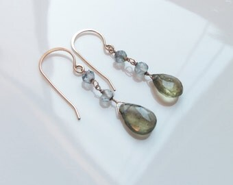 Moss Aquamarine Natural Gemstone Wire Wrapped Earrings on 14kt Gold Fil Handmade Jewelryl