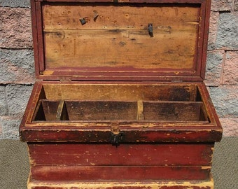 Antique Old Red Paint Primitive Farm Tool Trunk Chest ~Coffee Table End Stand