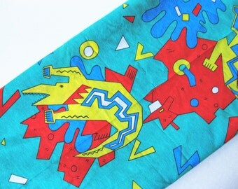 The 80s called... vintage novelty cotton poly fabric abstract animal motif yellow turquoise red crocodile 3 yards available