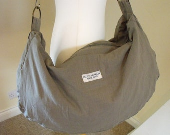 Olive Green and Orange Over Sized Slouch Tote Bag Handbag. One of a Kind. Ready to Ship