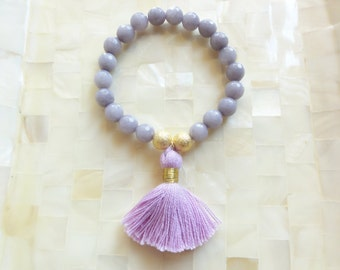 Faceted Gray Jade and Stardust Round Bead Stretch Bracelet with Lilac Cotton Tassel (B1207)