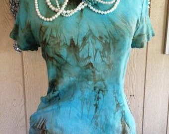 Turquoise T-shirt Top Tie Dye Women's Natural Stone Shabby Chic Rodeo Country Southern Western Sayings Custom Unique
