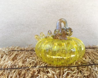 Hand- blown glass pumpkins, made in Corning NY,electric yellow with gold iridescent stem