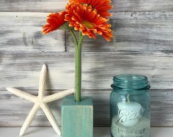 Test tube Flower Vase, rustic farm house decor, aqua blue, wood block, single flower vase.