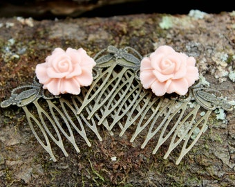 Antique Brass Filigree Haircomb - Coral Flower Set