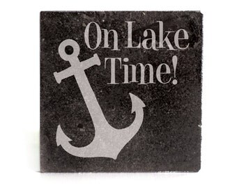 Coasters Set of 4 - black granite laser - 9946 On Lake Time!